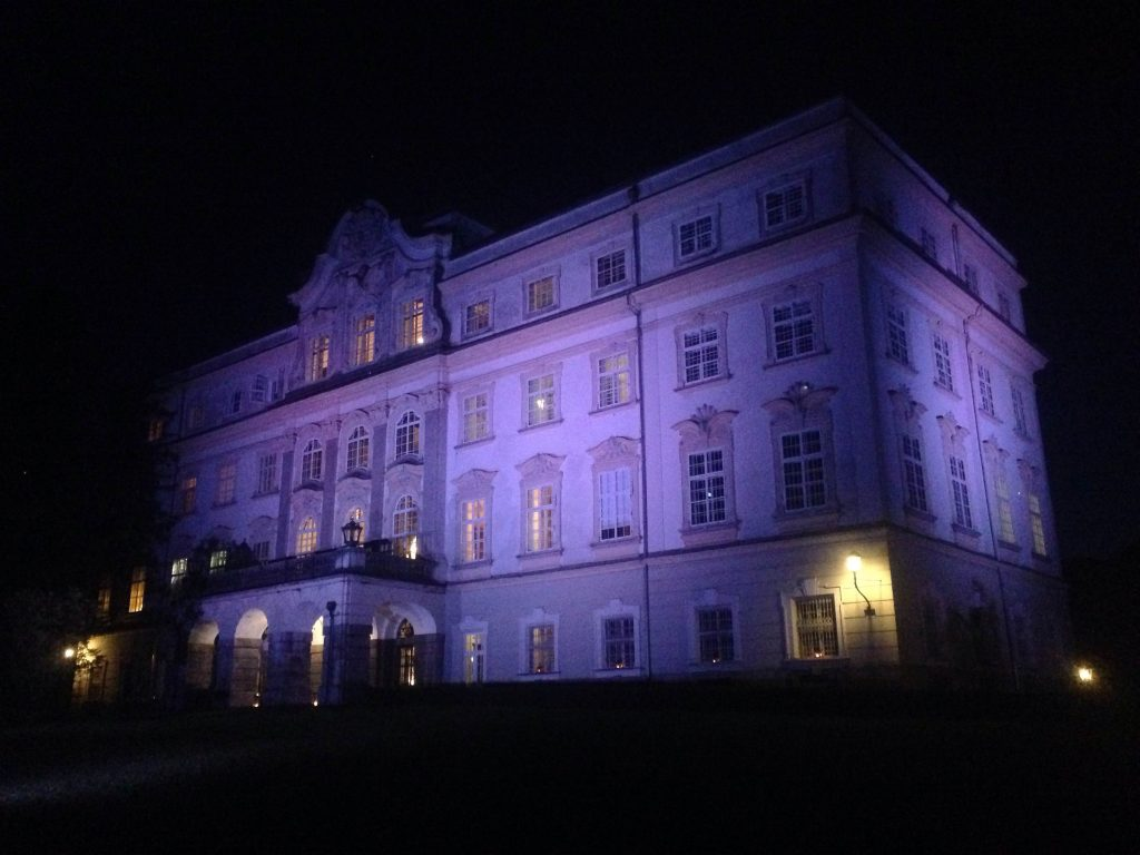 The view of Schloss Leopoldskron at night.