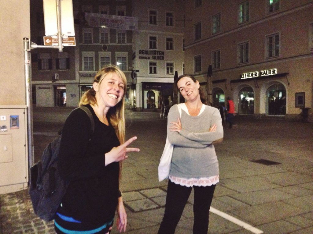 Argentine Salzburg Global Fellows, Florencia Rivieri and Moira Rubio Brennan, pose during their visit into town (10/19/2014).